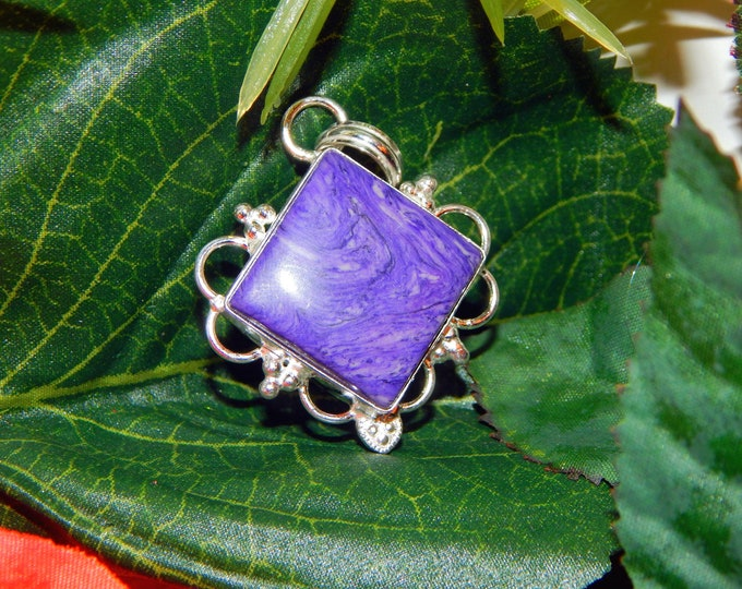 GA Shadow Elf inspired vessel - Handcrafted Charoite pendant with chain