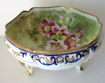 Antique Bowl Morimura Japan Nippon Floral Footed