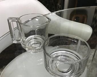 JOE COLOMBO  for Arno Italora Italy rare creamer jug and open sugar bowl Mid Century Modern glass tableware PANTON Era