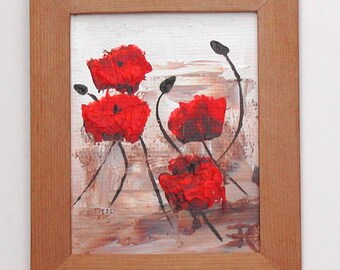 """4 by 5 inch acrylic on panel """"Poppies #5"""""""
