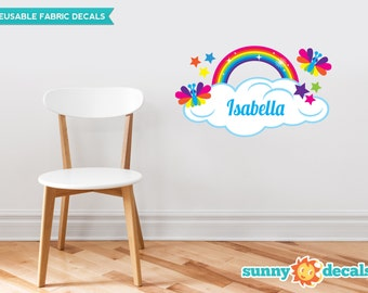 Rainbow with Custom Name Fabric Wall Decal, set includes Rainbow with Cloud, Stars, Butterflies, and Personalized Name, Repositionable