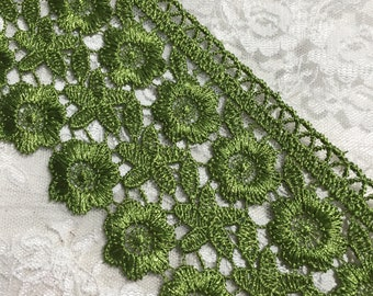 Wedding Green Venice Embroidered Lace, Embellishments, Sewing, Junk Journals, Scrapbooks Collages,
