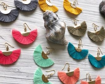 Fiesta Colorful Fan Tassels // Tassel Earrings // Mustard Tassel Earrings // Diamond Earrings