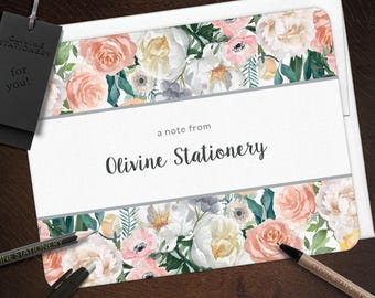 Personalized Stationery Set, Dusk Flowers, Greeting Note Card Set, Hostess Gift - Set of 10