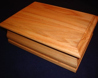 Beautifully Handcrafted Solid Oak Jewelry Box.