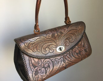 Vintage 1970's Floral Tooled Leather Purse Handbag