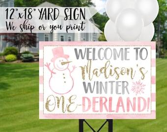 Winter Onederland Yard Sign, Winter Onederland Sign, Winter 1st Birthday Sign, Winter Onederland Birthday, Onederland Welcome Sign