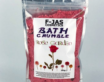 Rose Garden Bath Crumble / Fairy Dust with Real Dried Rose Petals 200g