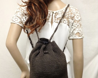 Knit Backpack, brown knit,back pack,