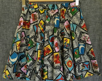 Loteria print twirly skirt for Girls 8/10/12 * Children's Mexican clothing * Loteria clothing * Child Day of the Dead skirt