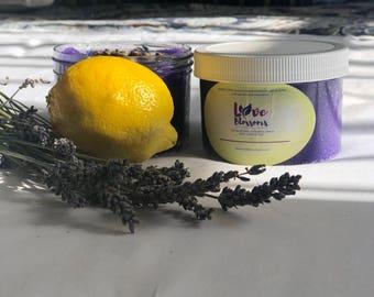 Lavender And Lemon Sugar Scrub/ Purple in color
