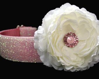 Dog Collar Flower Add-on White and Pink Dog Collar Flower