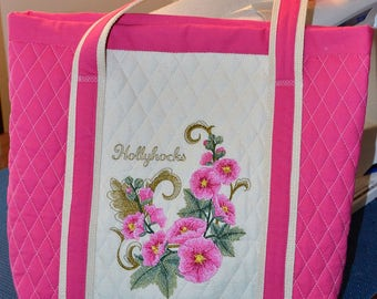 Pink Hollyhocks Embroidered and Quilted Tote Bag