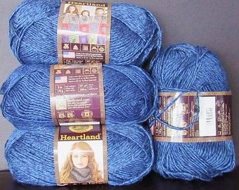 4 Sks Lion Brand Heartland Acrylic Tweed Yarn,Free Ship,Knit Crochet