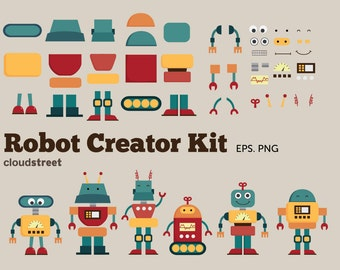 BUY 2 GET 1 FREE Cute Robots Creator Kit clip art for personal and commercial use ( robot clipart )