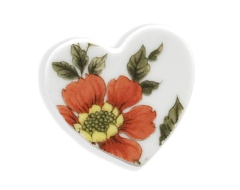 Heart Brooch. Orange Brooch. Mothers Day Gift. Gift for Her. Vintage.  Broken China Brooch. Hand Made Jewelry.   Gift Box. Gift Under 20