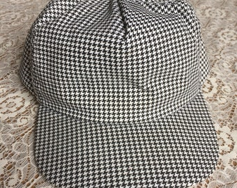 Vintage Black and White Houndstooth Snapback Trucker Hat Made in USA!
