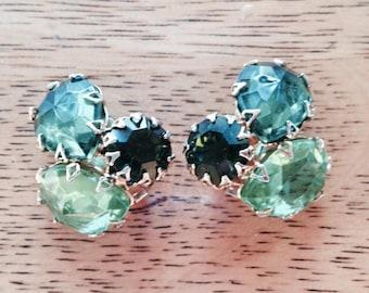 Emerald Green Vintage Clip On Earrings