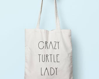 Crazy Turtle Lady Tote Bag Long Handles TB00377