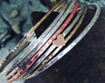 Stacking Bangles in Copper or Sterling silver, made to order  2mm diameter bangle
