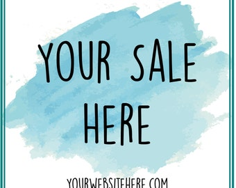 Sale Marketing Board. Photoshop Template. Water Color. Sale Template. Marketing. Instant Download. File number