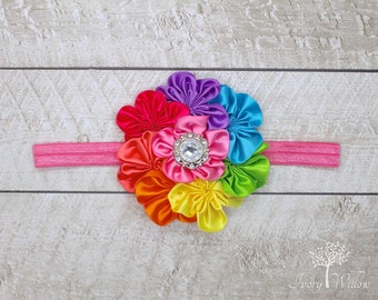 Rainbow Headband - Rainbow Flower Headband - Birthday Headband - baby headband - girl headband - adult headband - Photo Prop - Colorful