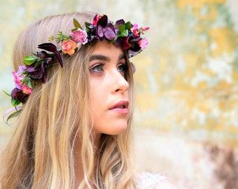 Purple flower crown, plum crown, plum flowers, purple hair accessory, pink flower crown, woodland crown, photo prop, faerie crown