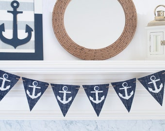 Anchor Banner, Nautical Banner, Nautical Baby Shower Banner, Nautical Anchors, Nautical Theme Party, B320