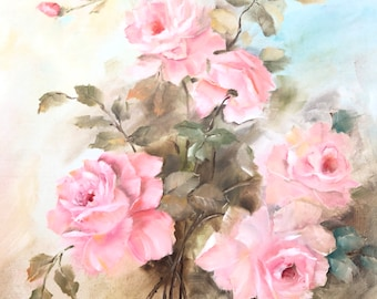 Handpainted shabby pink roses oil on canvas 18 x 24 signed and unframed