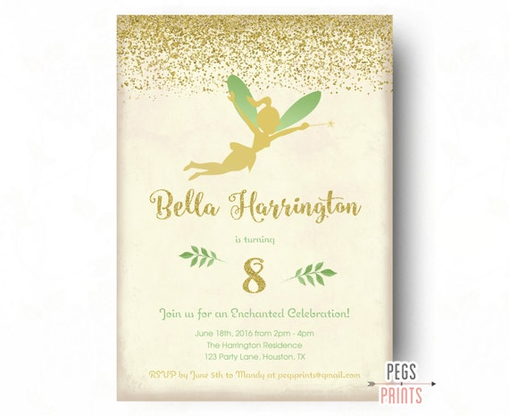 Fairy birthday party invitation gold glitter fairy princess like this item filmwisefo Images