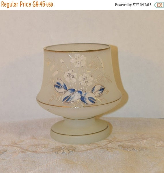 Delayed Shipping Frosted Candle Holder Vintage Gold Trimmed Frosted Glass Decoration Hand Painted Glass Candle Holder Gilding White Frosted