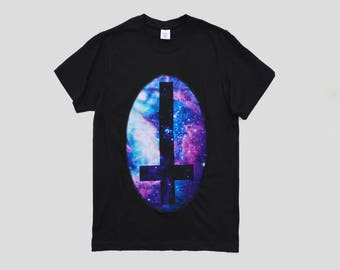 Black Cosmic Space Galaxy Inverted Cross Pastel Goth Aliens T-shirt UFO Hipster Indie Swag Dope Hype Black White Mens Womens Cute