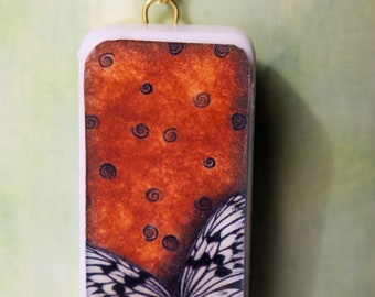 Butterfly Domino Tile Necklace