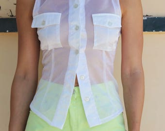 Vintage white sheer tulle button down sleeveless shirt top.size s