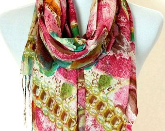 Multicolor Abstract Print Scarf (Fuchsia)