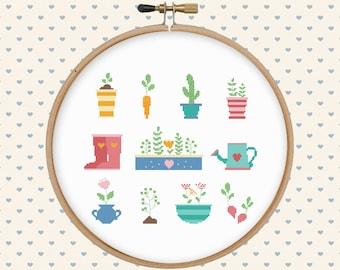 Garden cross stitch pattern pdf - pillow embroidered - instant download - modern cross stitch - floral cross stitch