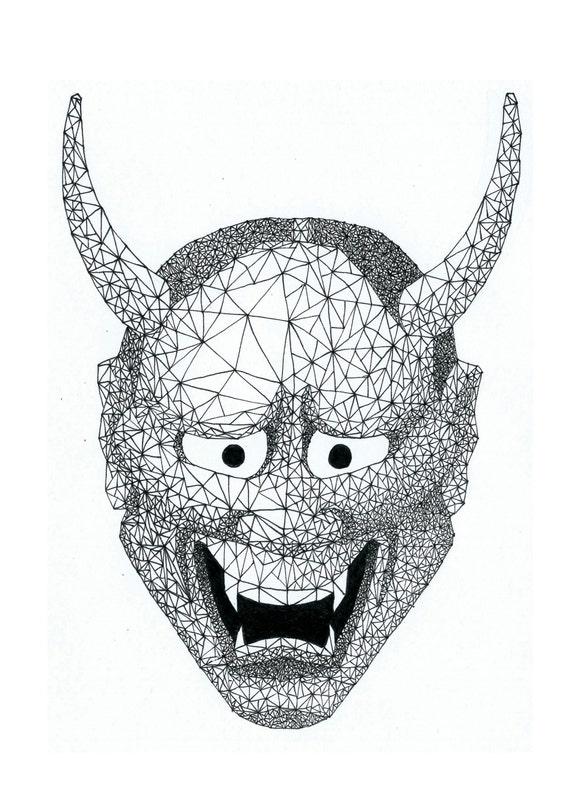 Hannya mask geometric ...
