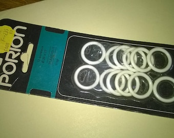 (63) white curtain rings