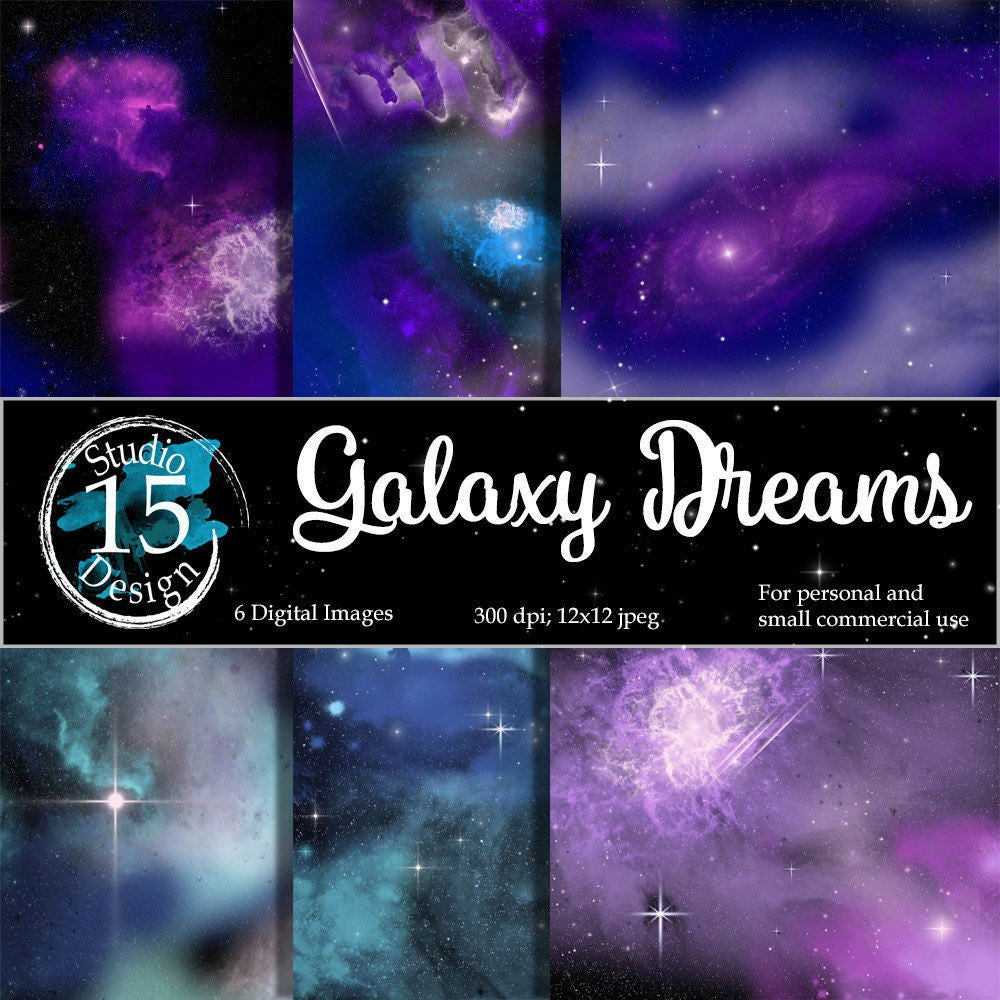 Galaxy Digital Paper Galaxy Dreams Nebula Digital Paper Night