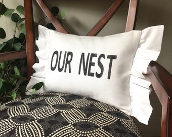 Our Nest Pillow, Decorative Pillow, Rustic Home Decor, Accent Pillow, Rustic Decor, Gift, Farmhouse Decor, French Cottage
