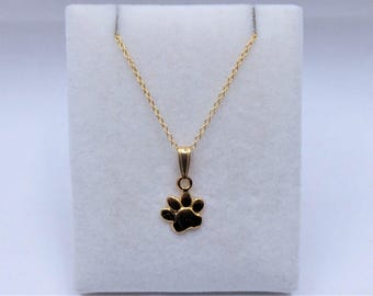 18ct Gold over Sterling Silver Paw Print Charm Pendant & Chain Necklace.