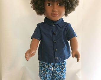 "3 pc set-Pants-Collar Shirt-shoes for Boy 18"" Doll"