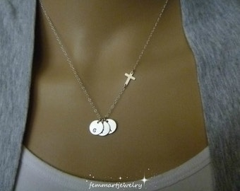 Christian Jewelry - Baptism Gift - Christian mom gift - sisters gift - friend gift - Cross Charm - Sterling Silver - Religious Charms