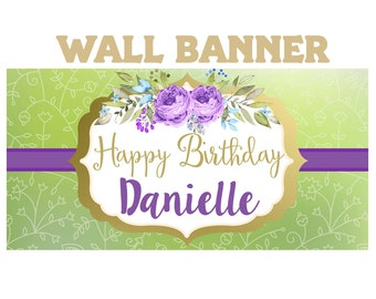 Boho Love Birthday Banner  ~ 16th Birthday Personalize Party Banners -Purple Flowers Large Photo Banners