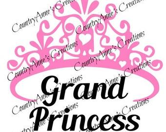 """SVG PNG DXF Eps Ai Wpc Cut file for Silhouette, Cricut, Pazzles, ScabNCut """" Grand Princess"""" svg"""