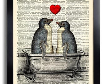 Penguin Couple Love Art Print, Bathroom Wall Decor, funny wall art, nursery animal art Print on Dictionary Paper,Bathroom Wall Decal 554
