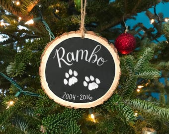 Pet memorial ornament - Pet Christmas - Custom Pet Ornament - Christmas gift - Gift For Pet Parents - Rustic Pet Ornament - Wood Slice