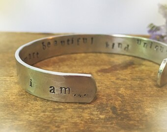 I Am Loved Secret Message Personalized Cuff, Engraved Bracelet, Hidden Message Bracelet, Gift for Her Mantra Bracelet, Custom Name Bracelet