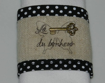 "set of 2 napkin rings ""key to happiness"" linen"