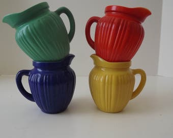 Retro Hazel Atlas Pitchers, Blue/Red/Yellow/Green, Gay Rainbow Color Set, Retro Ribbed Pitchers, Kitchen Collectibles, Circa 1940's